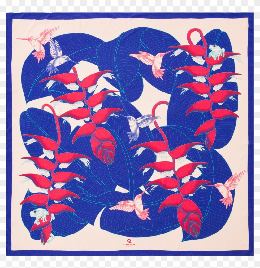 Scarf Design Tropical Garden Color Spectrum Blue In Clipart #3895329