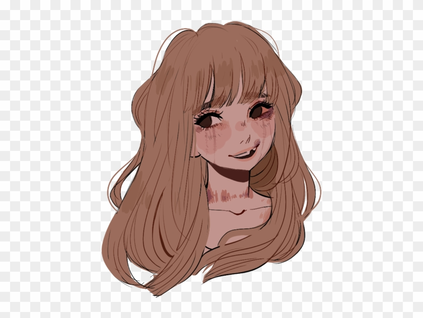 Long Hair Clipart Realistic Girl - Drawn Girl With Bangs - Png Download #3936095