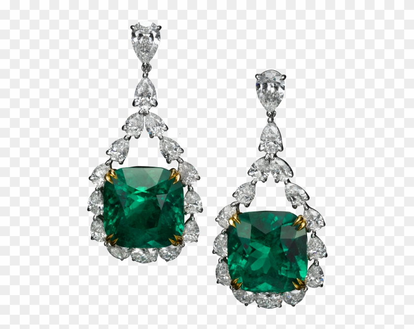 Earrings With 37ct Colombian Emeralds And 11ct Diamonds - Earrings Clipart #3939872