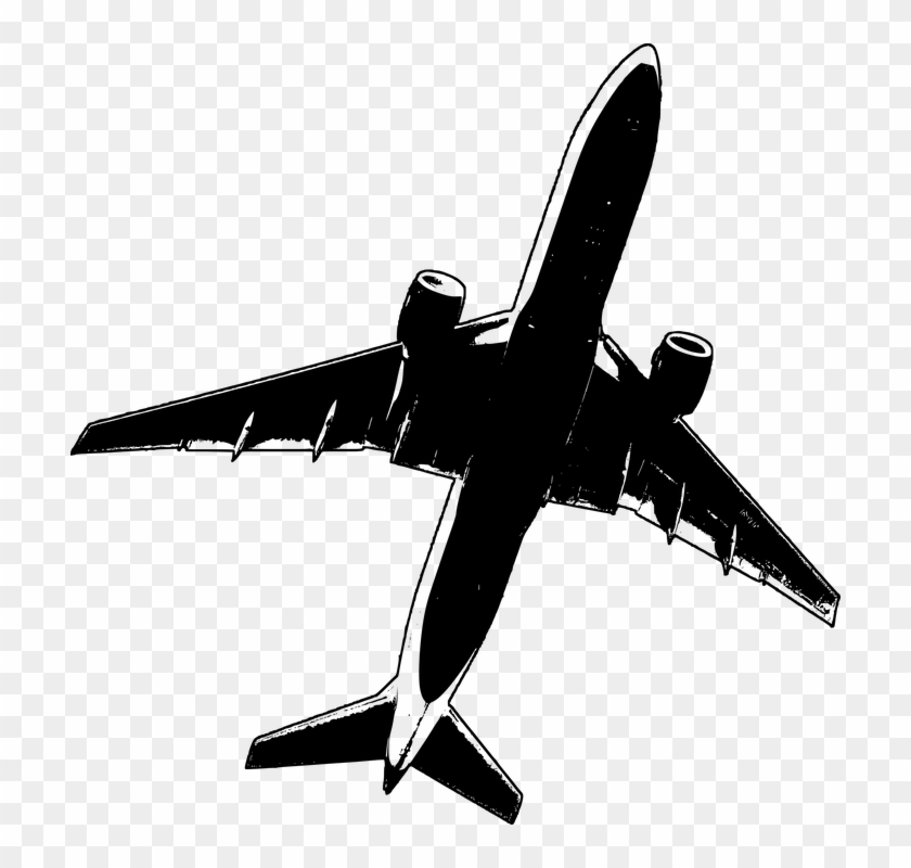 Airline Airplane Black And White Gray Grey Jet Airplane Flying
