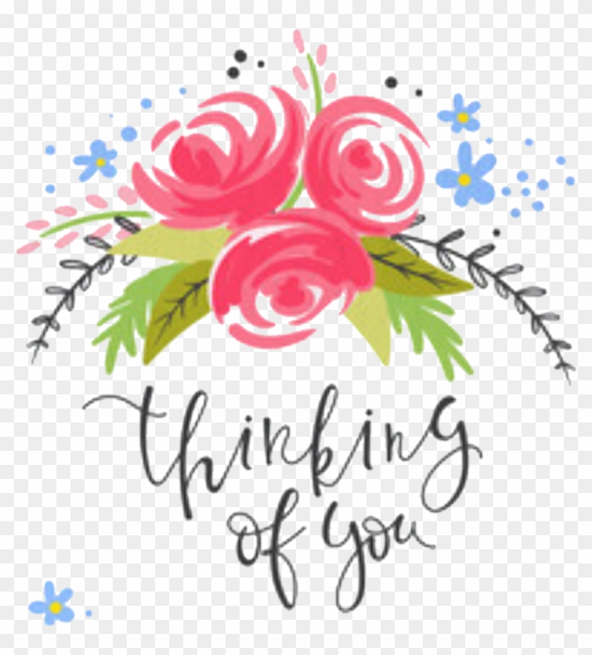 Words Sayings Quotes Floral Header - Thinking Of You Flower Clipart #3966853