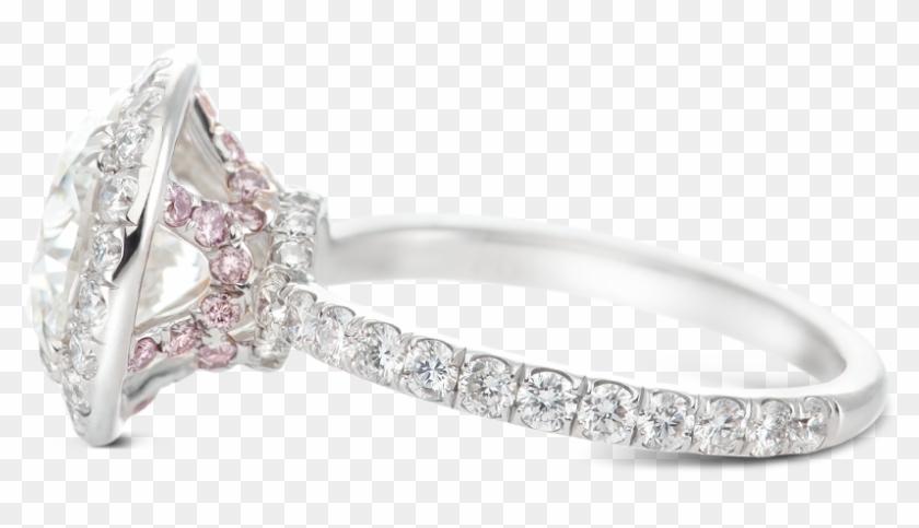 Ring Tiara Halo Round Diamond Crown Basket Pink - Pre-engagement Ring Clipart #3970898