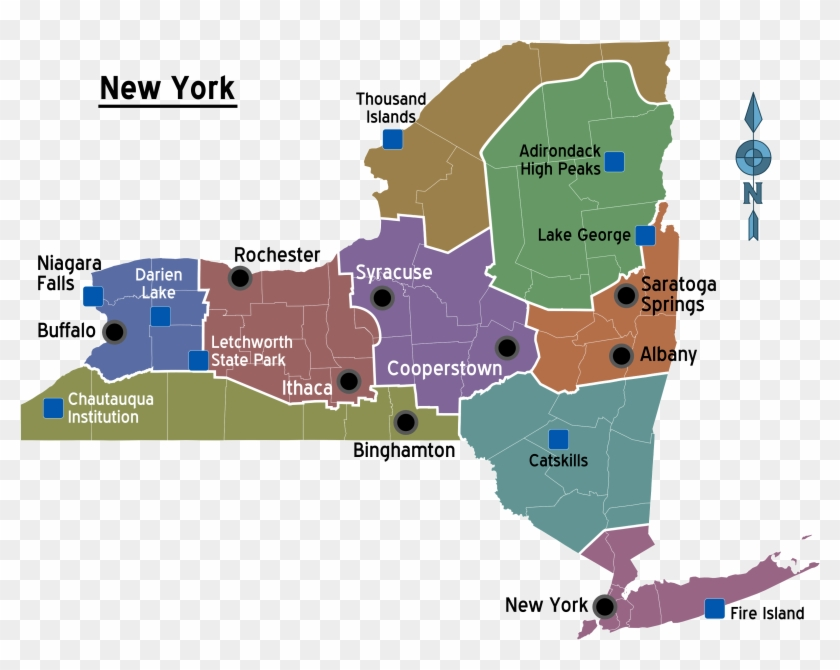 New York Regions Map - New York State Clipart #3971289