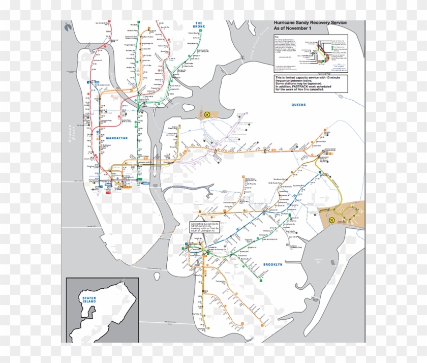 New York City Subway Map, Hurricane Sandy Hangover - Nyc Subway Map After Sandy Clipart #3971575