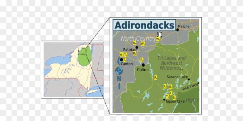 Map Of New York State And Surrounding States In The - Adirondack Park Map Clipart #3971836