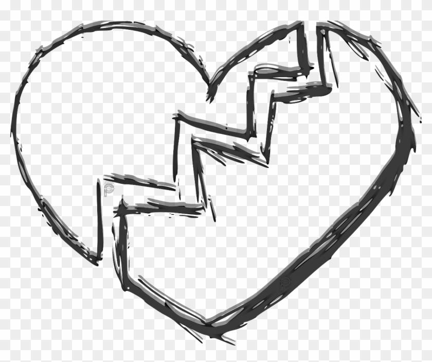 Drawing Detail Broken Heart - Broken Heart Png Transparent Clipart #3978692