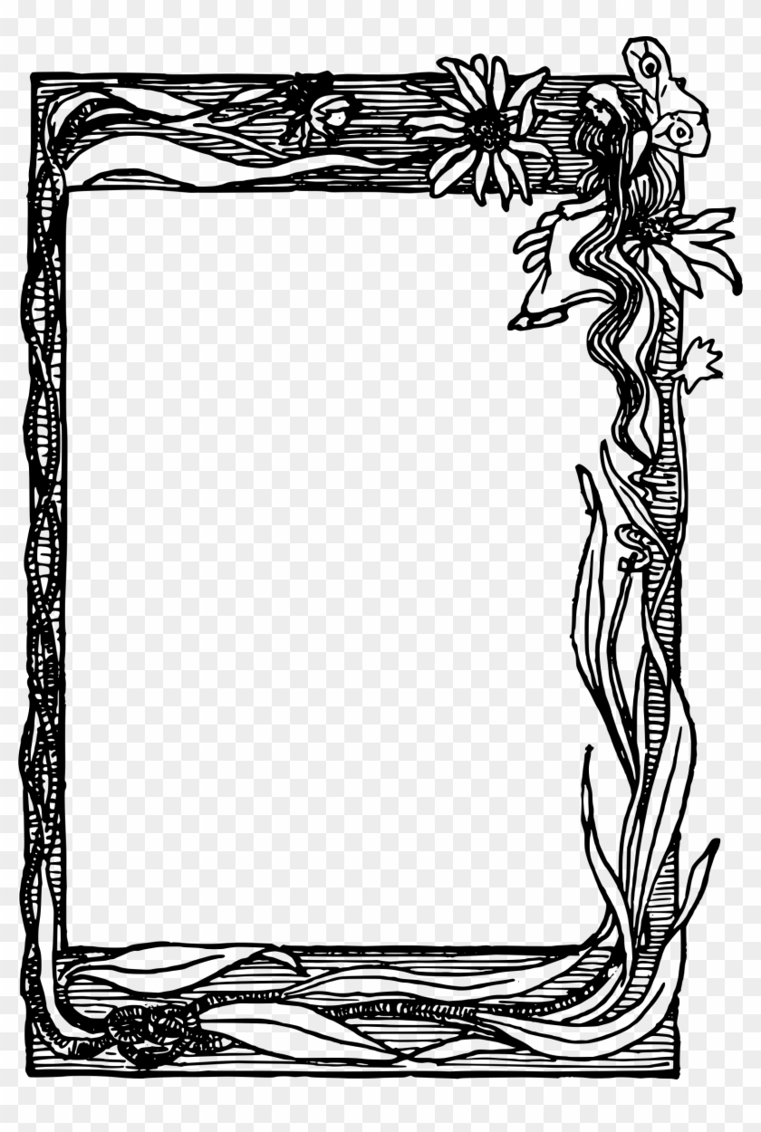 This Free Icons Png Design Of Flower Fairy Frame - Flower Photo Frame Png Black And White Clipart #3980712