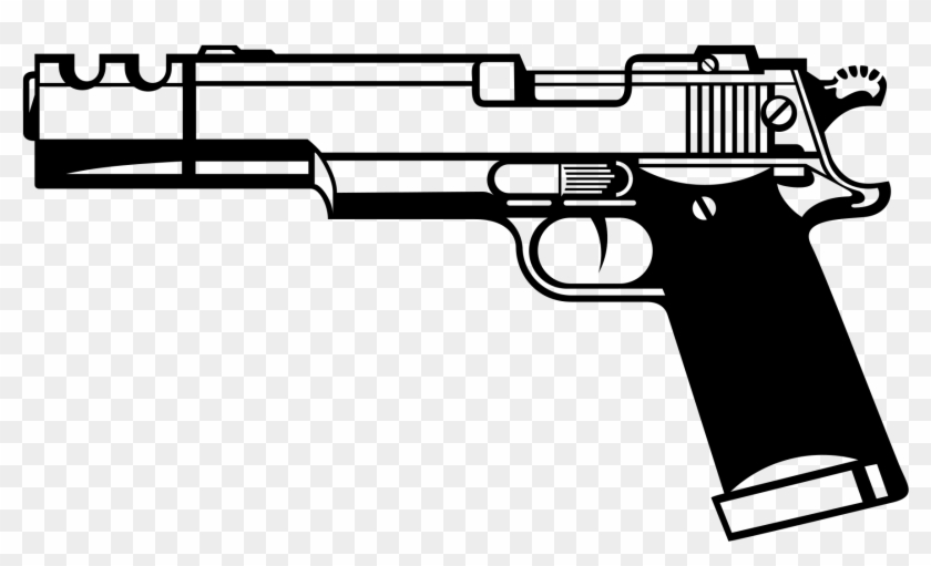 File - Silhouette Gun - Gun Clipart Black And White, HD Png Download #46342