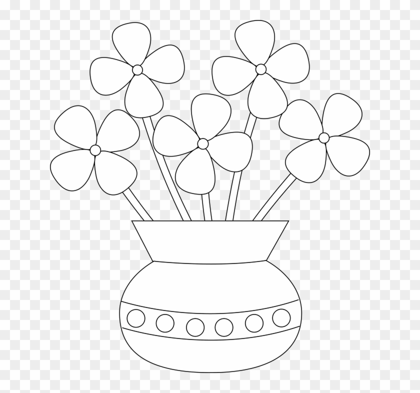 Cracked Drawing Jar Easy Drawing Of Flower Vase Clipart 400428 Pikpng