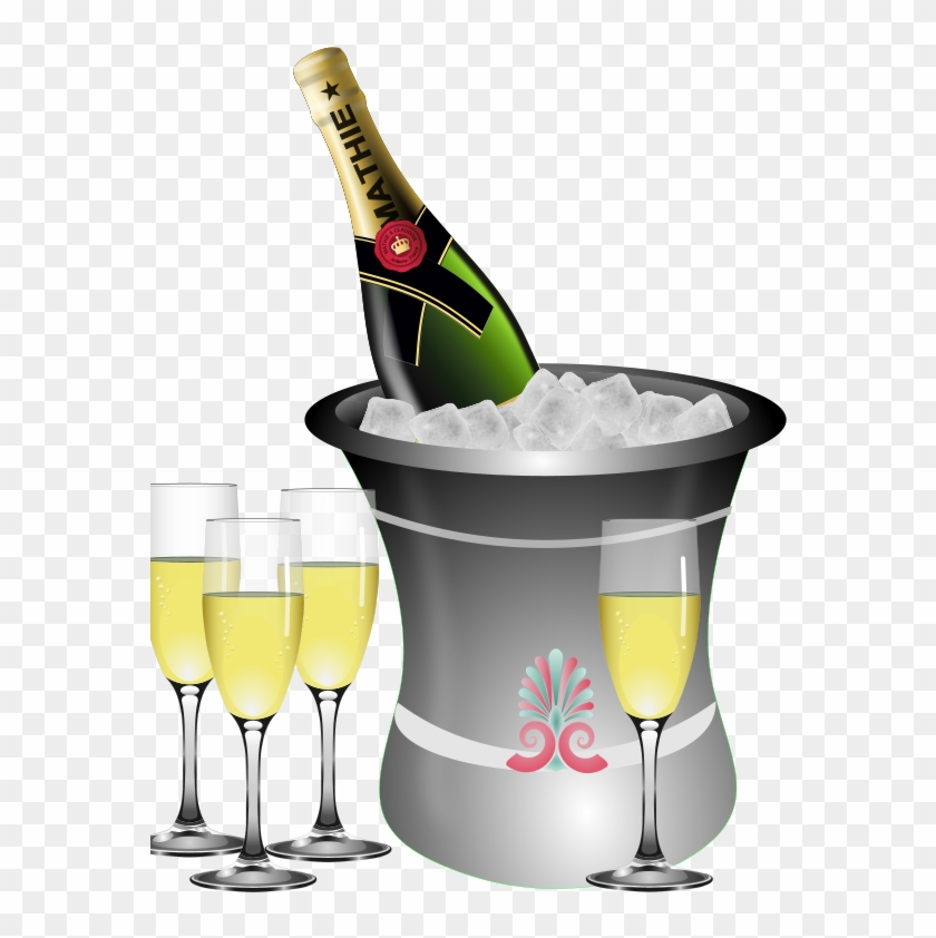 Champagne Chilled - Champagne Bottle And Glasses Clipart - Png Download #401932