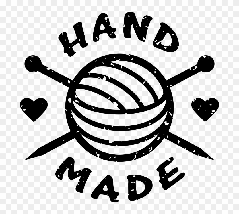 Handmade Rubber Stamp With Crochet Needles And Heart - Crochet Needles Clip Art - Png Download #4008523
