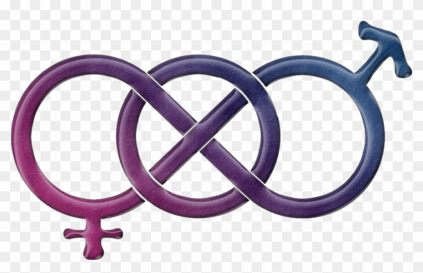 Bisexual Pride Gender Knot In Pride Flag Colors - Male Bisexuality Symbol Clipart #4061404