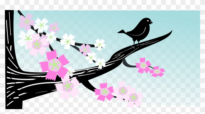 Bird Branch Flower Spring Tree Png Image - Spring Png Clipart #4081071