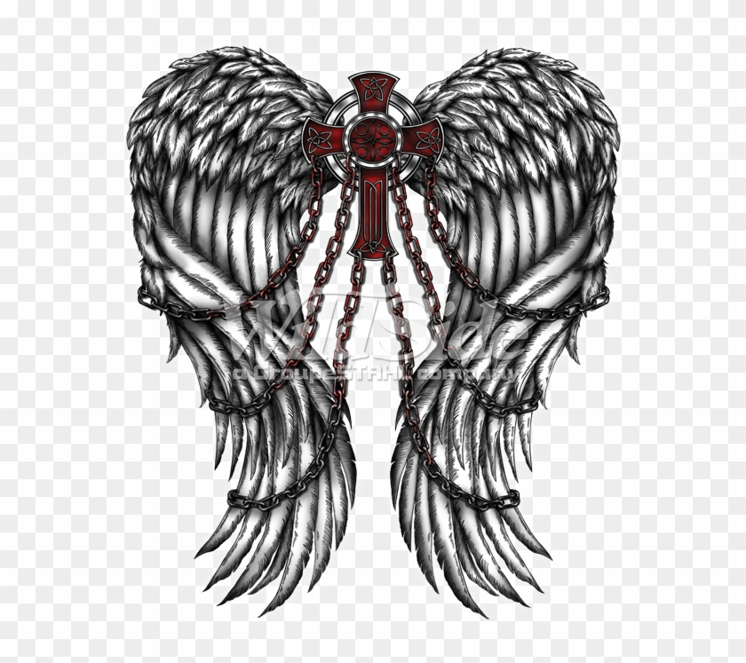 Wings Cross Chains Angel Wings And Chains Tattoo Clipart 4091301 Pikpng