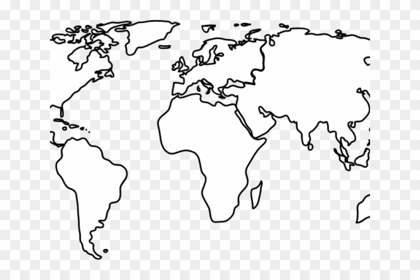 World Map Clipart Flat - White World Map Vector Png Transparent Png #4093697