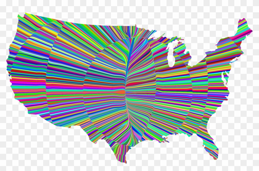 Psychedelic Waves United States Map Graphic Transparent - Religion By Us County Clipart #418279