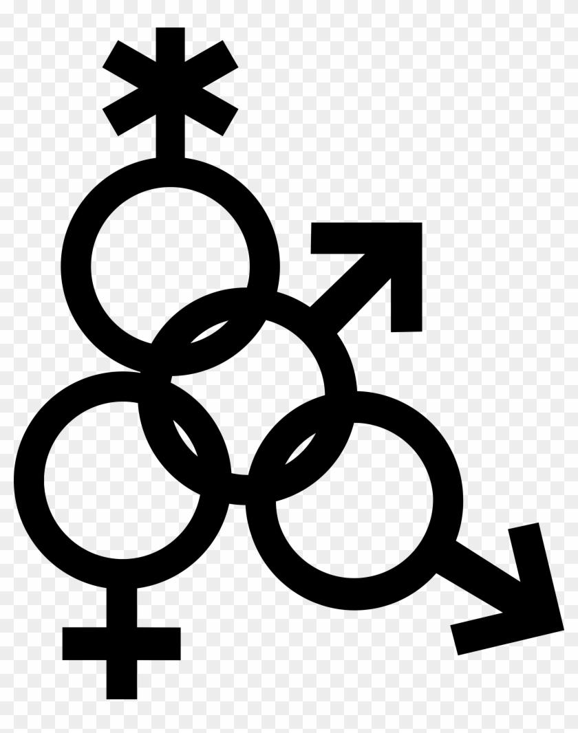 Mars Symbol Interlocked With Nonbinary, Venus And Mars - Male Female Sex Symbol Clipart #4118577
