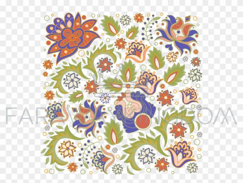 Floral Ornament Oriental Folk Ethnic Vector Illustration - Motif Clipart #4158664