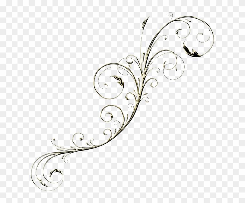 Golden Floral Decor - Line Art Clipart #4163853