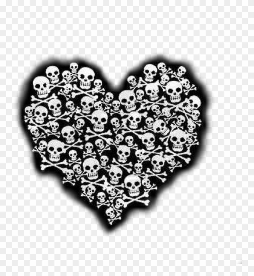 #skull #heart #blackandwhite #horror #terror #gotic - Evil Broken Heart Clipart #4165054