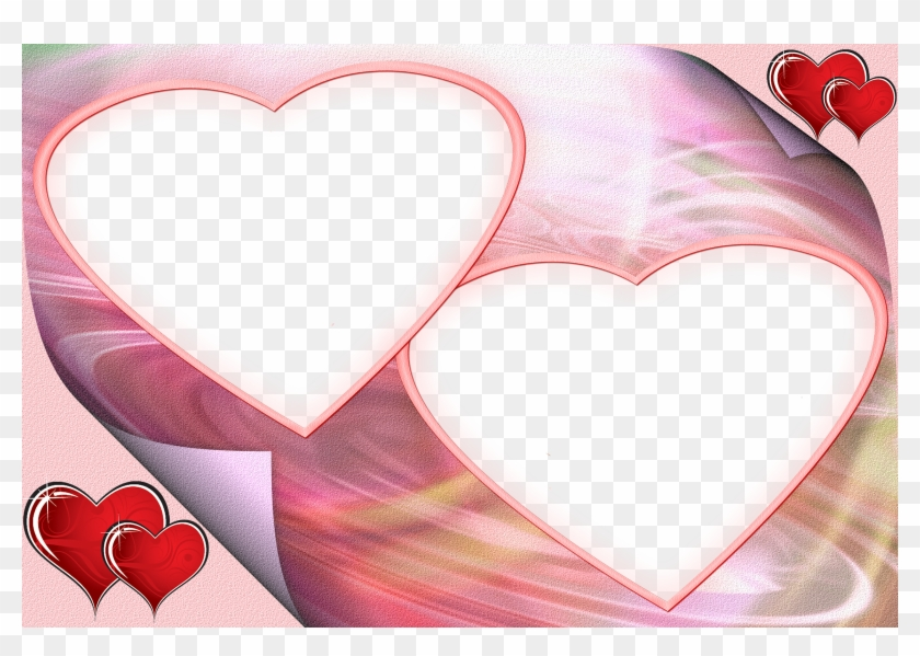 Marco Para Dos Fotos, Postal Para San Valentin - Two Heart Frame Png Clipart #4165923