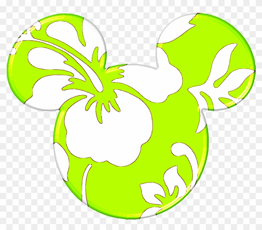 Mickey Heads Hawaiian Style Mickey Minnie Hello Kitty - Silueta De Cara De Minnie Colores Png Clipart #423094