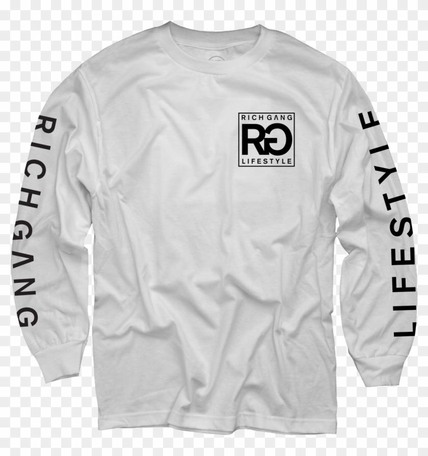 Rich Gang Life Style White Long Sleeve T-shirt - Rich Life T Shirt Clipart #4205705