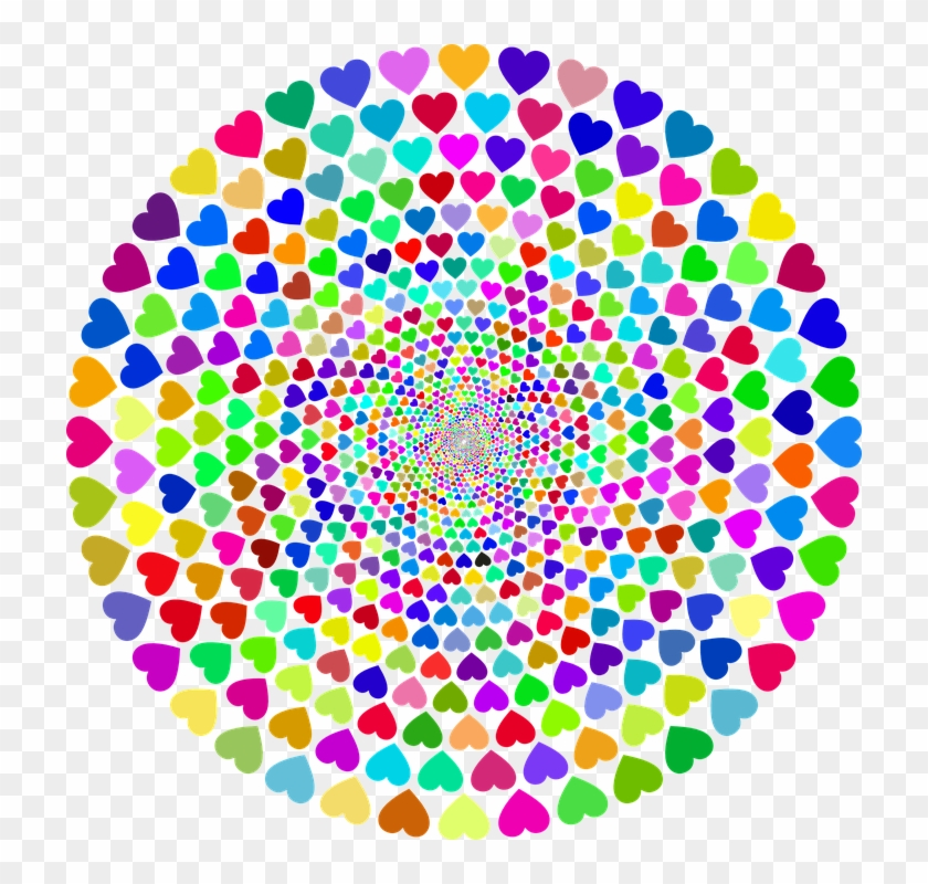 Colorful Prismatic Chromatic Rainbow Hearts Love - Colorful Images Of Hearts Clipart #4207730