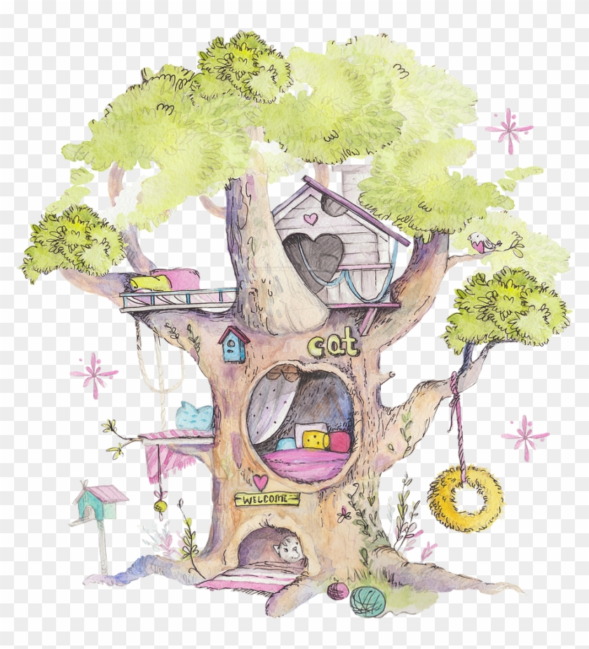 Drawing Watercolors Fairy - Fairy House Drawing Clipart #4235350