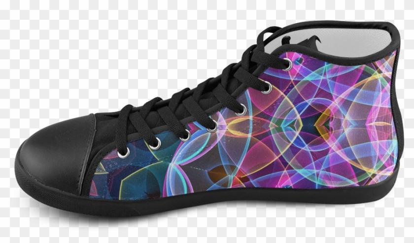 Rainbow Bubbles Mandala Abstract Art High Top Canvas - Shoe Clipart #4238662