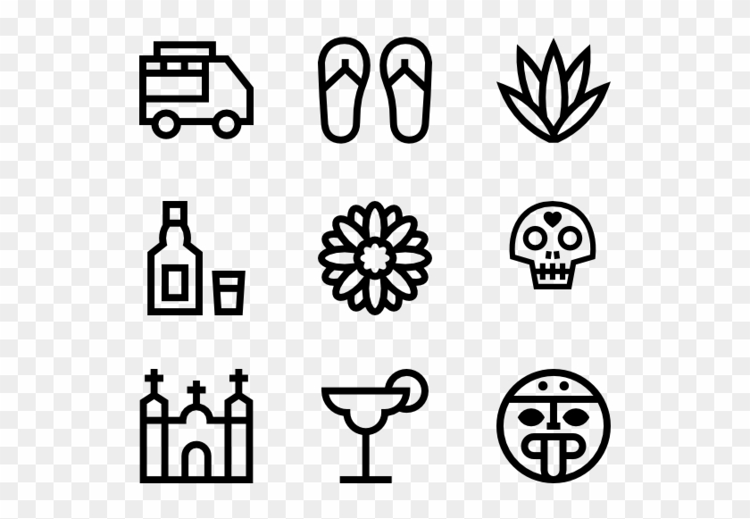 Mexican Elements - Hand Drawn Social Media Icons Png Clipart #4252255