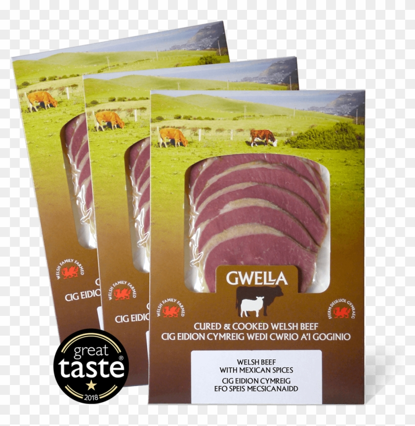 Welsh Beef 3 Flavours - Cured Meat Packaging Design Clipart #4253754