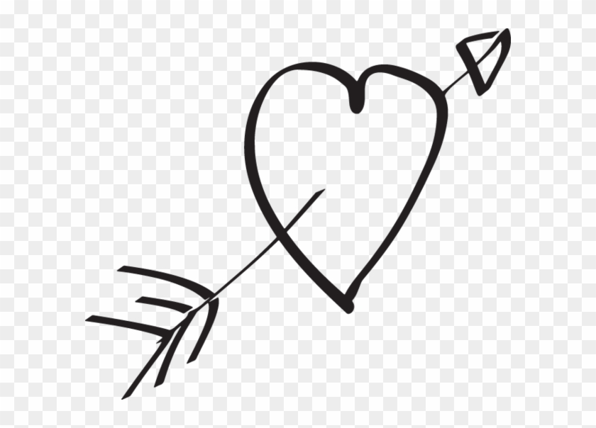 Hand Drawn Heart With Arrow, HD Png Download #4253976