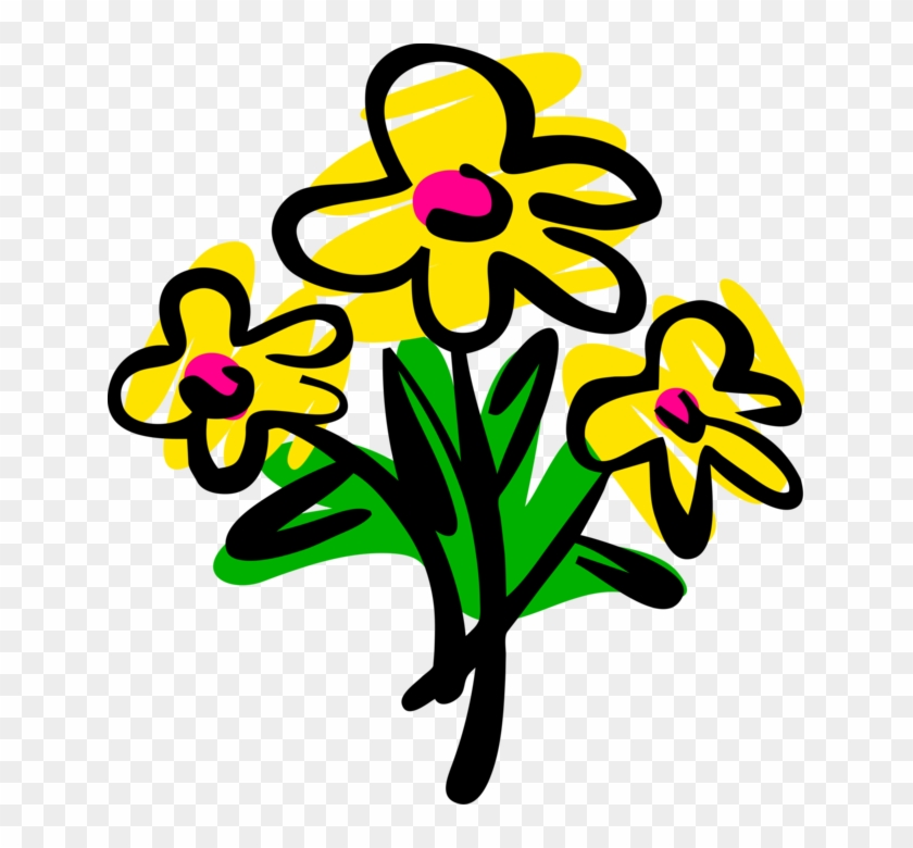 Vector Illustration Of Spring Yellow Garden Flowers - Particle Swarm Optimization Bee Clipart #4271300