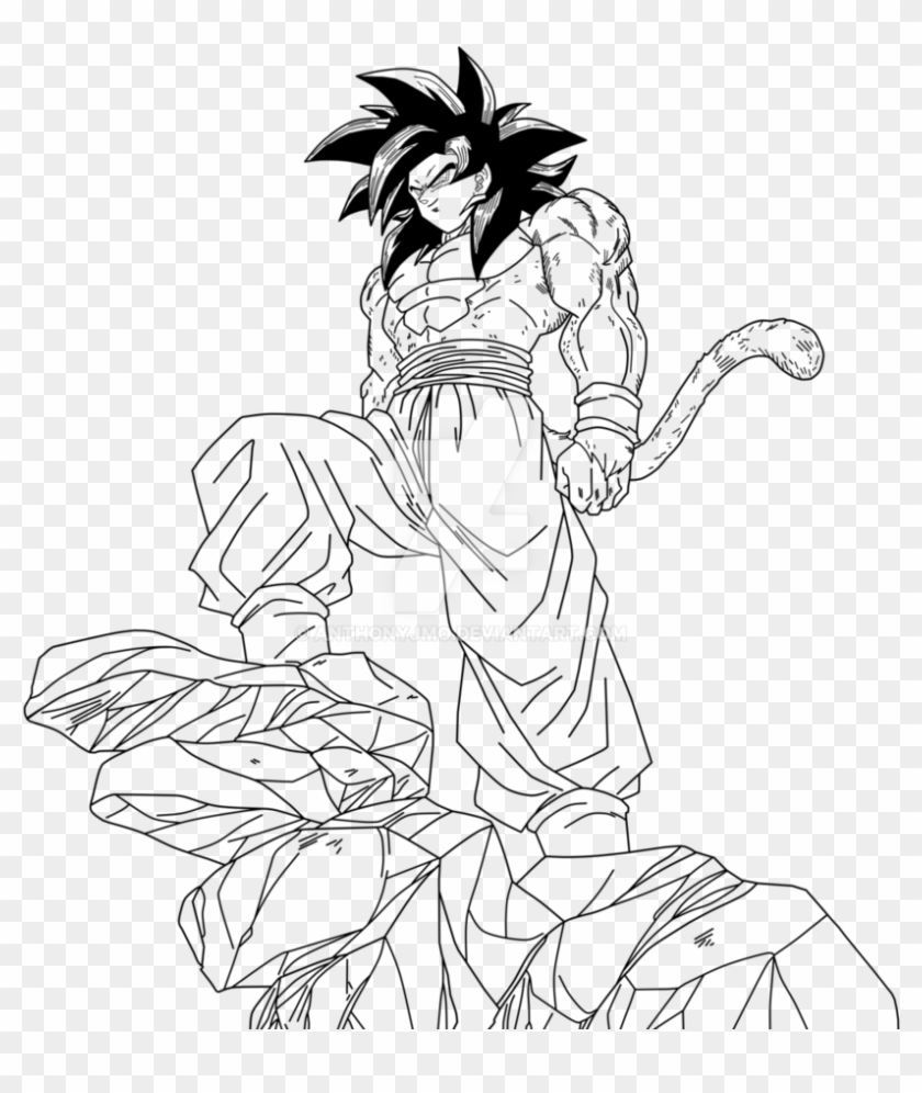 28 Collection Of Drawing Of Goku Ssj4 - Goku Ssj4 Black And White Clipart #4282594