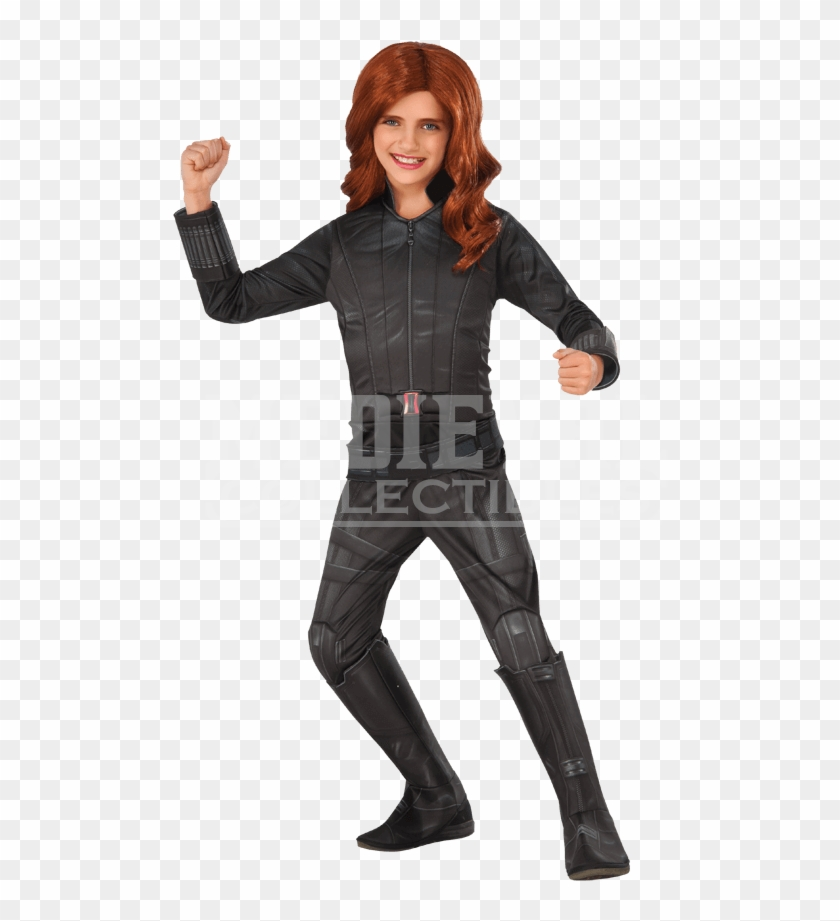Black Widow Girls Fancy Dress The Avengers Marvel Superhero Kids Childs Costume