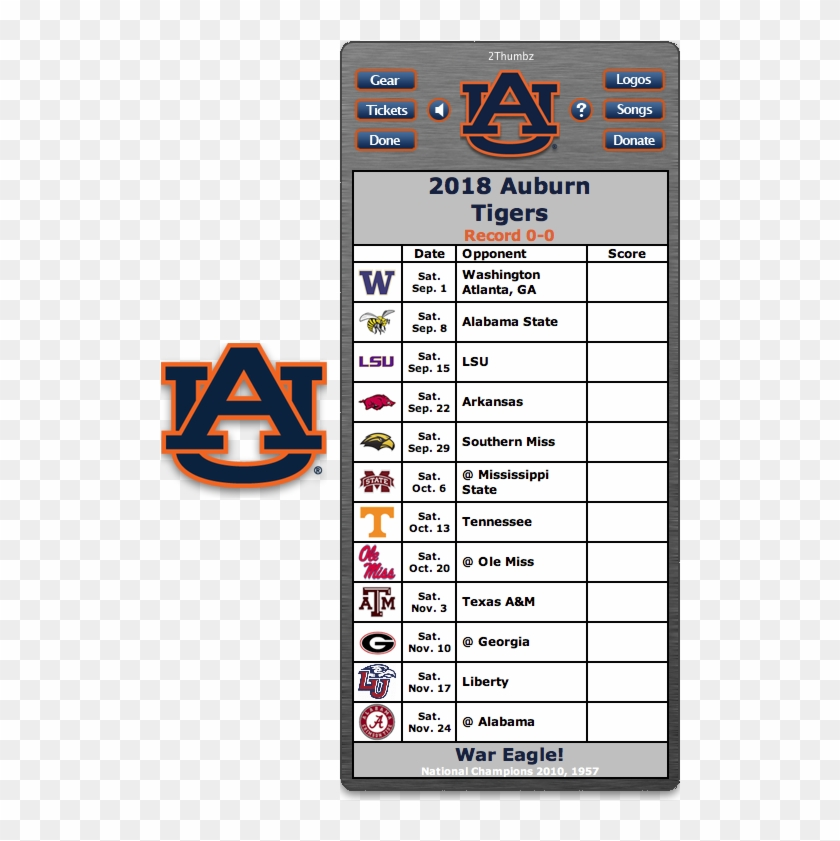 Get Your 2018 Auburn Tigers Football Schedule Dashboard Osu Ohio State Football Schedule 2018 Printable Clipart 4313819 Pikpng