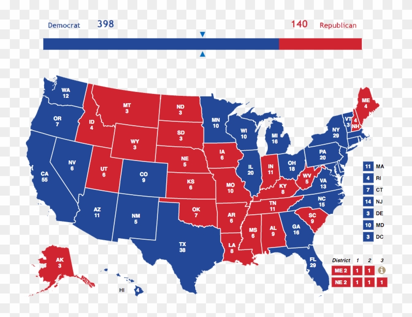 Map Of Us 2016 Election Clipart #4333294