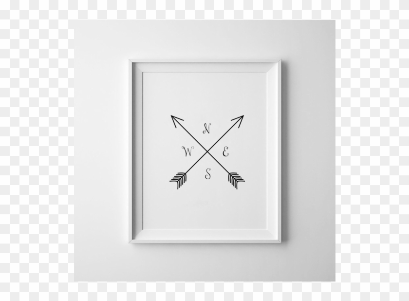 Compass Print / Cardinal Directions / Arrow Art / Nsew - Motif Clipart #4338930