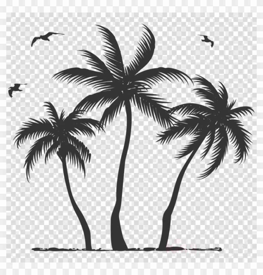 Download Palm Tree Silhouette Clipart Palm Trees Clip - Transparent Png Palm Tree Silhouette #446792