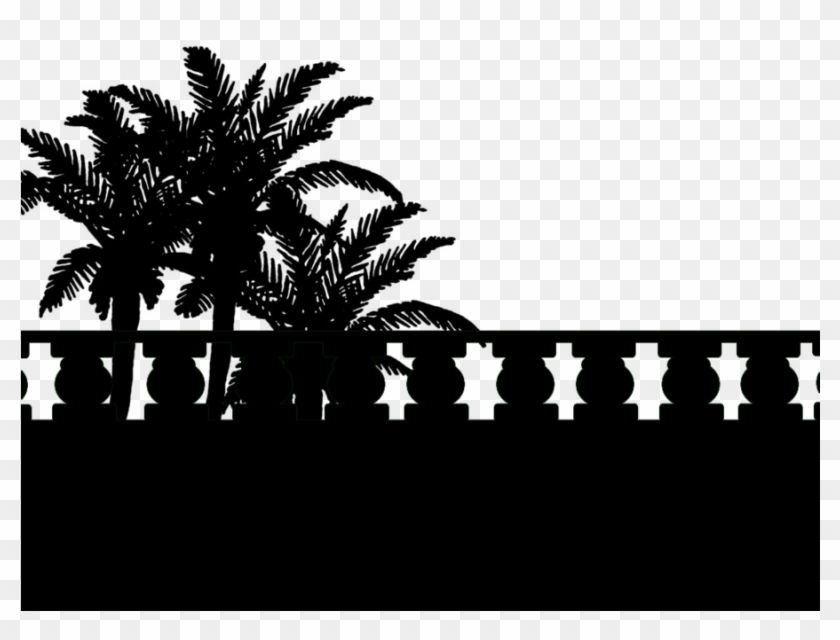 Palm Tree Silhouette Png - Silhouette Palm Trees Black Background Clipart #446854