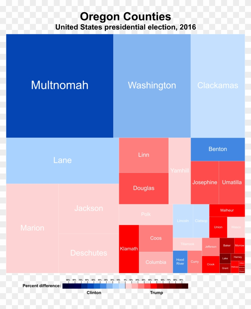 United States Presidential Election In Oregon, - Oregon Treemap 2016 Clipart #4428855