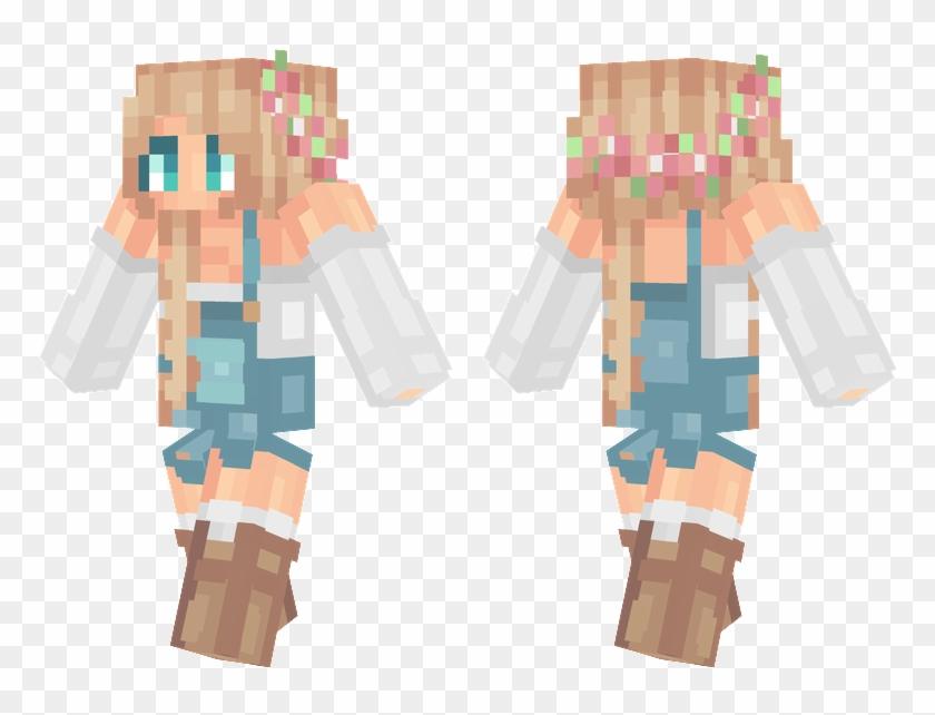 Blue Overalls - Minecraft Overalls Girl Skin Clipart #4453820