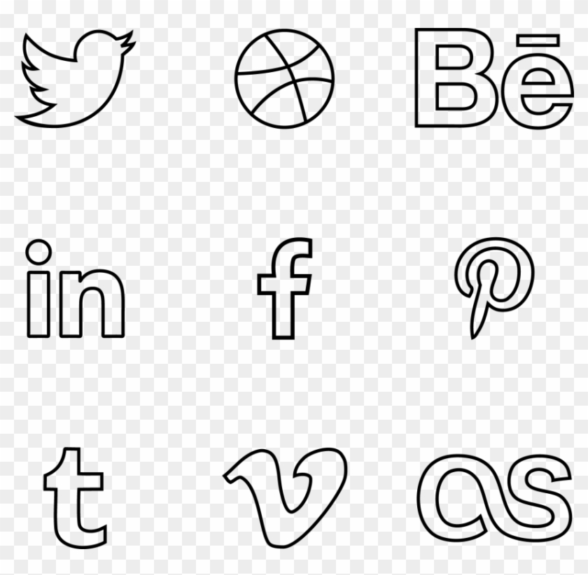 Free Png Download Social Media Line Icons Png Images - Social Media Icons Outline Vector Clipart #450329