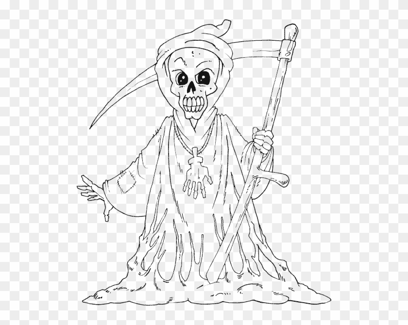 Free Scary Halloween Coloring Pages.Grim Reaper Scary Halloween Coloring Sheets Free Printable Clipart 450357 Pikpng