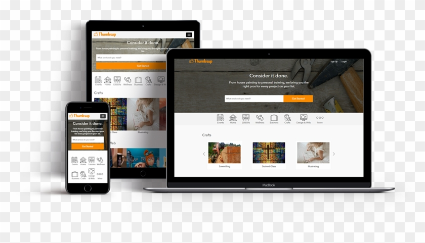 Thumbtack Clone Script - Responsive Web Design Clipart #453493