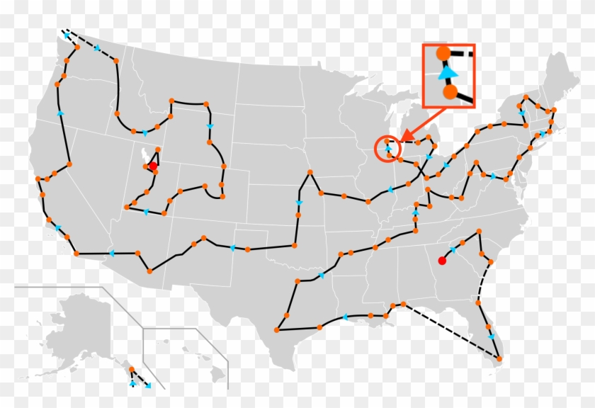 2002 Winter Olympics Torch Relay Route Between Chicago - New York Highlighted On Map Clipart #459705