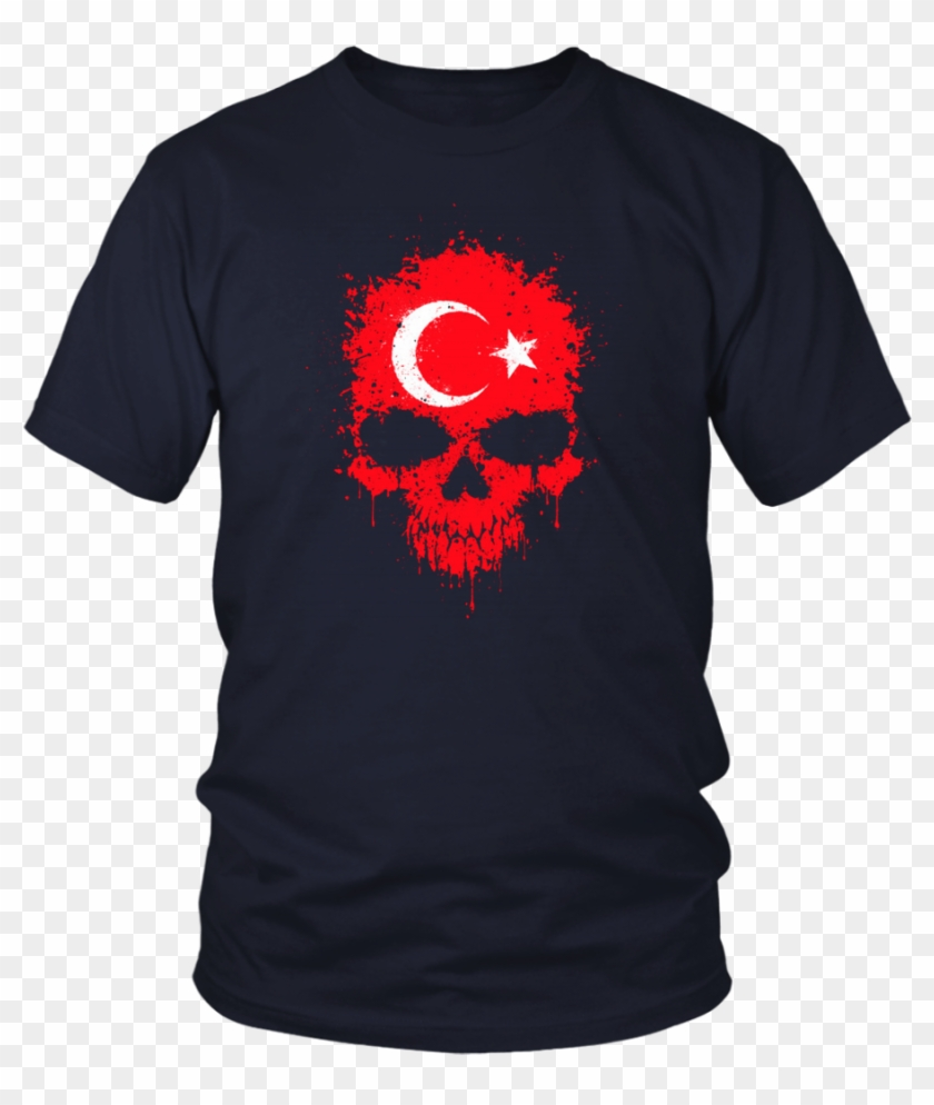 Chaotic Turkish Flag Splatter Skull T-shirt - Larry Bernandez T Shirt Clipart #4506515