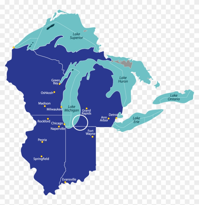 Southwest Michigan Has A Population Of Around 281,000 - Great Lakes Map Vector Clipart #4514366