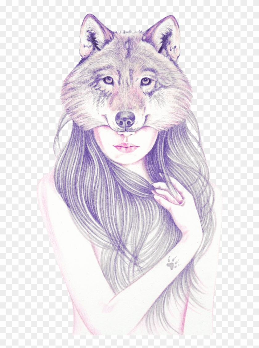 Pencil Drawing Ob Paper Teeth Drawing, Tooth And Claw, - Wolf Girl Draw Clipart #4519142